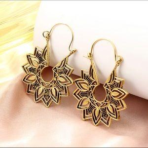 Flower Carved Gold Tone Hoop Drop Earrings